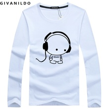 Givanildo 5XL Men T-Shirt Long Sleeve Homme Tee Shirt 2017 Buy Casual Rock Headset Earphone Dogs Music Printing Tops Cool BY057
