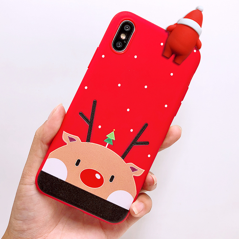 Phone Case For iPhone 7 5 S 5S SE 6 6s 7 8 Plus X XR XS Max Fashion Cute Cartoon Christmas Lovely Santa Claus Elk Soft TPU Cover (2)