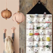 Wall Hanging White Black Alphanumeric Canvas Sack Bag Hanging Storage Bag 24 Pocket Calendar Room Storage Bag Home Storage Orga(China)