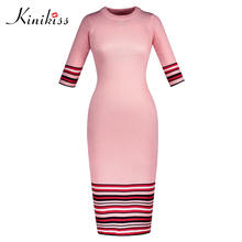 Buy Kinikiss 2018 women pink bodycon dress spring autumn half sleeve sexy club dress stripe color block knitted slim sweater dress for $11.84 in AliExpress store