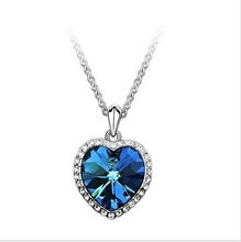 Women's Fashion Zircon Heart Titanic Ocean Blue Heart Necklace Long Sweater Chain 4ND12