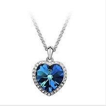 Женская мода циркон в форме сердца титаник океан в форме сердца ожерелье длинный свитер цепи 4ND12