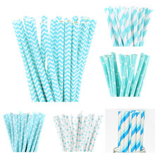25pcs/lot Light Blue Paper Straws for Kids Birthday Wedding Decorative Party Straws Event BabyShower Supplies