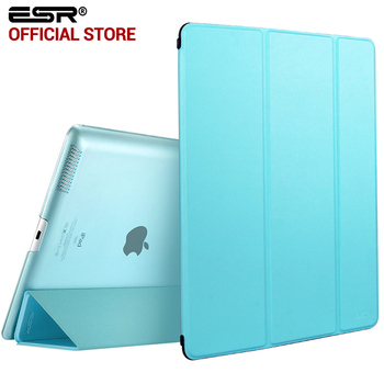 Case for ipad 2 3 4, esr yippee tríptico color pu trasera transparente ultra delgado ligero smart cover case para ipad 2/3/4