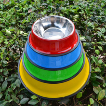 small pet dog/cat food bowl stainless steel double large dog container feeder  cat food dish red green blue color