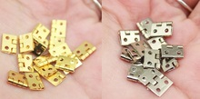 500PCS/LOT 8*10MM MINI Tiny Brass Hinge With Nails Jewelry Chest Gift Wine Music Box Dollhouse(China)