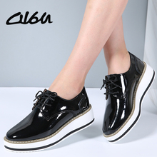 O16U shoes women Patent Leather Lace Pointet Toe Female Casual shoes Spring Autumn Flat Platform oxfords Ladies Shoes 2018