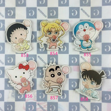 Min Order $5(Mix Order)  Acrylic Badge cat Blue cat and little boy little girl Brooches Pin Up Collar Tips Cartoon Gifts XZ197