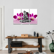 Framed Print Buddha Orchid Flower Painting On Canvas Art 3 Piece Zen Poster Home Decor for Wall Kids Children Room Decorations(China)