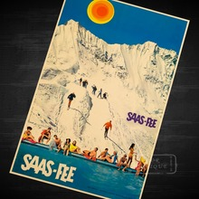 Ski and Swim Skiing Vintage Retro Decorative Poster DIY Wall Home Bar Posters Home Decor Gift