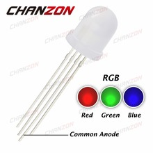 50pcs 10mm RGB LED Diffused Lights Common Anode 20mA Tricolor Red Green Blue 10 mm Diffused Round LED Light-Emitting Diode Lamp(China)