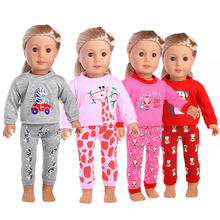 1 Suit Fashion Cartoon Animal Pajamas 18 Inch American Girl Doll Clothes Accessories For Kids Girl Xmas Gift Toy(China)