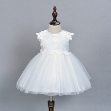 Ivory Christening Gowns Princess Dress 1Year Birthday Dress Newborn Baby Party Dress Baptism Dress(China)