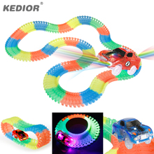 Car Race Track Bend Flex Glow in the Dark DIY Assembly Toy Plastic Race Track Toy Car with 5 LED Flashing Lights(China)