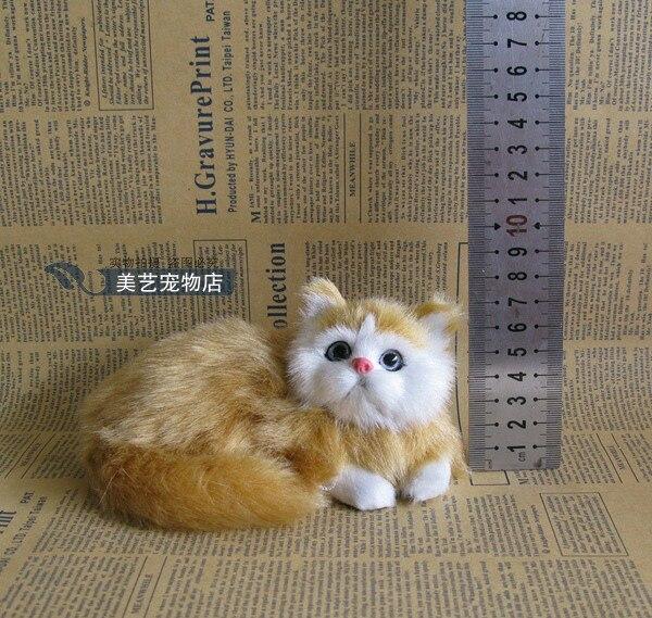 simulation yellow cat model,polyethylene&amp; furry fur 14x8x7cm prone cat handicraft toy,prop,home Decoration,Xmas gift b3694<br><br>Aliexpress