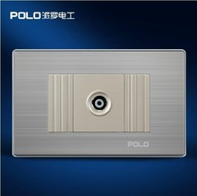 Free Shipping, POLO luxury wall socket panel,110~250V,118*72mm,TV socket, power electrical outlet, plug