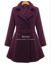 Plus Size L- 5xl Woolen Cashmere Thick Turn-down Collar Slim Belt Long Women Winter Jacket Dress Coats Wool Blends Red