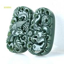 KYSZDL Beautiful Natural Hetian stone Carving A Pair Green Dragon Phoenix Pendants Lucky Amulet Pendant fashion Jewelry