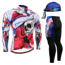 2017 Skulls Brand Men's Cycling Jersey sets Mountain Outdoor Sport Wear Racing Clothing Cycle Jerseys skull Winter Long Sets