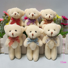 24pcs/lot Promotion gifts 12CM bow tie cream teddy bear mini joint plush keychain bear bouquet phone pendant