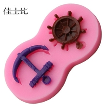 1PC 3D Anchor Helm Forms Silicone Craft Relief Fondant Chocolate Mold Cake Decorating Tools Liquid Silicone Rubber to Make Mold(China)