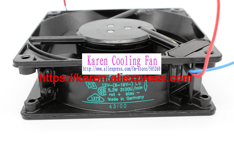 New Original EBM Papst W2G110-AM39-01 12V 5.3W 120*120*38MM 12cm high temperature full metal cooling fan<br>