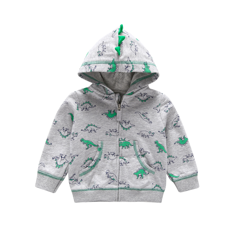 spring autumn outwear coat for boy cotton long sleeve hooded jackets Cartoon dinosaur with pocket 2018 casual kid girl clothes