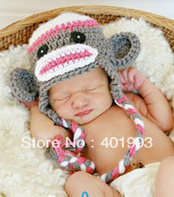 Hand Crochet Knit Baby Girl Monkey Hat in Gray Pink H88(China)