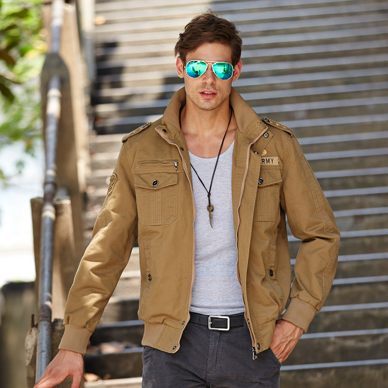 Casual 2017 Spring Autumn Men's Jackets Military Style  Cargo Jacket