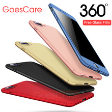 GoesCare 360 Degree Full Body Hard Cover Case For iPhone 7 8 Hybrid Shockproof Case For iPhone 6 6S Plus With 9H Tempered Glass(China)