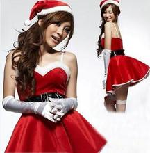 Christ Costumes For Sexy Cosplay Santa Claus Fantasias Femininas Camisole Red Camisole Dress White Gloves Uniform Hot Sale T1083