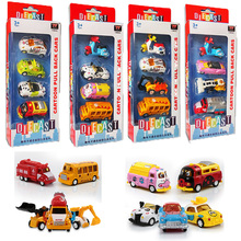 1:64 kids toys gift Cartoon car Metal alloy car model 4pcs Combination packages A variety of animal school bus car bus