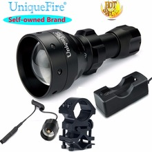 UniqueFire 1503 IR 850NM Hunting Flashlight Invisible Infrared Light Night Vision Lamp Torch+Scope Mount+Charger+Rat Tail