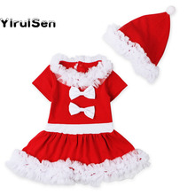 Baby Girls 2017 Christmas Santa Claus Dress + Hat Outfit Costume Xmas Clothes New Year Dress Princess Costume