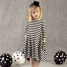 2017 Children Clothing Wavy Stripe Dress Winter Baby Girl Warm Clothes Two Pockets Casual Kids Party Dresses For Girls 2-6 Years