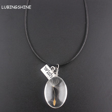 LUBINGSHINE Dandelion Seed Wish Dried Flowers Pendant Necklace For Women Bohemia Jewelry Charms Retro PU Leather Necklaces(China)
