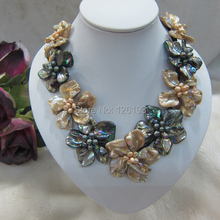 Champagne and black pearl mother of shell weave flower pendant necklace(China)