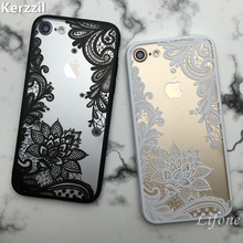 Kerzzil Retro Vintage Lace Flower Clear Case For iPhone 7 6 6S Plus 5s SE Cartoon Cat Skull Phone Cover For iPhone 6 7 6S 5S(China)