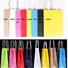 kraft paper bag with handle Party Gift Paper Bags Wedding Favors 21*15*8cm
