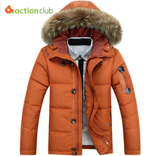 ACTIONCLUB Men's Battlefield Winter Keep Warm Coat 90% White Duck Down Solid Color Warm Jacket Coat Casual Men's Down Jacket(China)