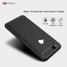 For Google Pixel 2 / 2XL case Luxury Slim Armor Soft Silicone Phone Back Cover for Google Pixel 2 XL Brushed Carbon Fiber Coque(China)