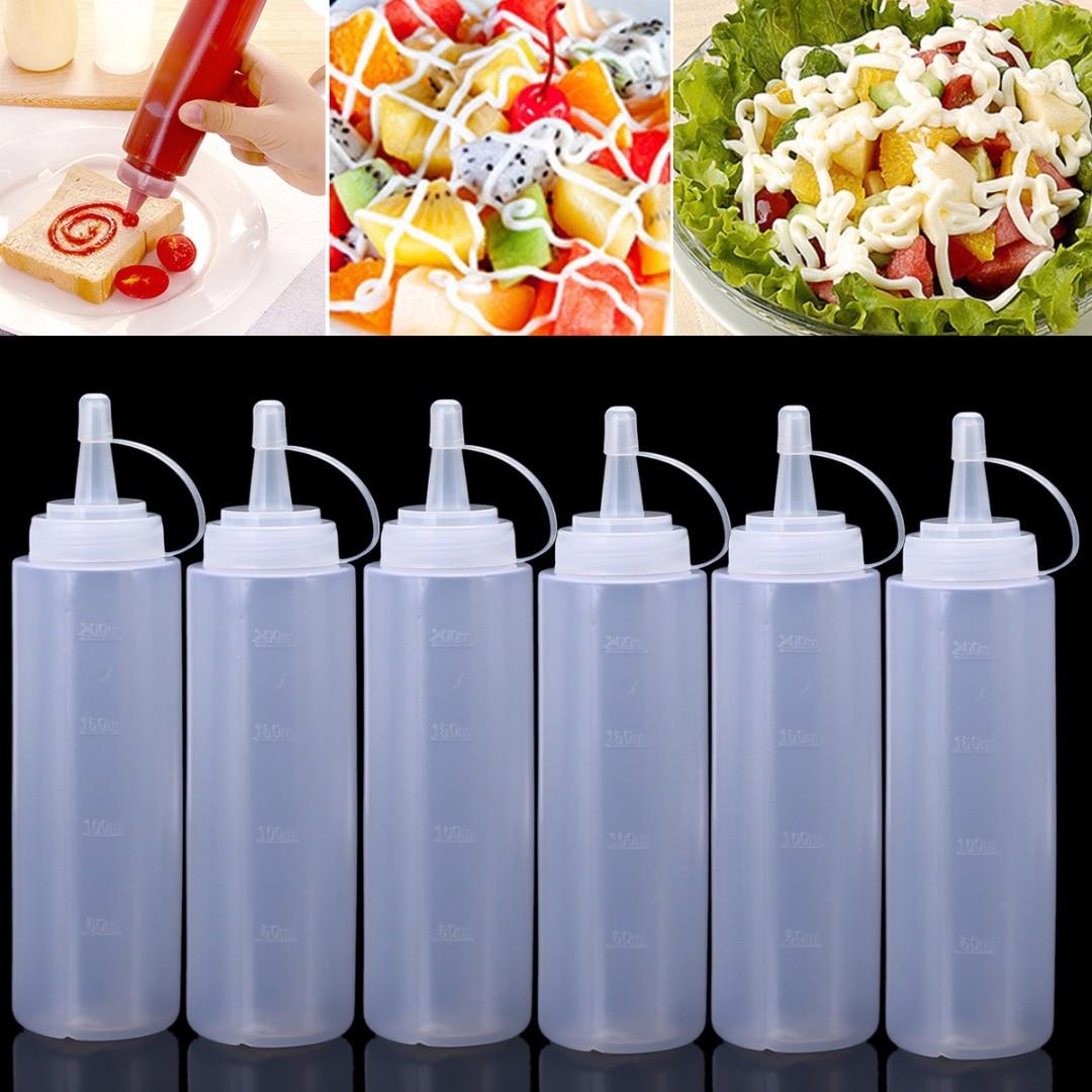 6pcs Transparent Ketchup Dispenser 8oz/240ml Kitchen Plastic Squeeze Bole Mustard Dispensers Cruet Mayitr
