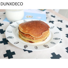 DUNXDECO Table Placemat Tea Towel Napkin Cotton Plate Cover Pad Mat Nordic Black Red Cross Linen Cotton Home Party Decor Fabric