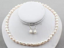 real pearl jewelry sets Nice  8-9mm Baroque Pearl Necklace Earrings set White Colour - Pearl Jewellery