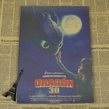 How to train your dragon dragon master movie poster children bedroom retro kraft paper decorative painting
