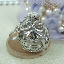 21mm Wish Prayer Box Chiming Ball Hollow Filigree Locket Cage Pendant Essential Oil Aromatherapy Diffuser Rhodium tone