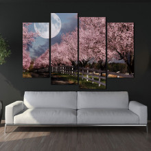 4 Panels Unframed Canvas Photo Prints The Moon Under The Cherry Trees Wall Art Picture Canvas Paintings Wall Decorations(China)