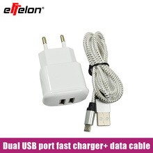 Effelon 2A 2 Port EU Wall Charger + Micro USB Cable For Samsung Galaxy S4 S3 I9300 Note2 N7100/Huawei P7 P8/Lenovo/LG/Tablet