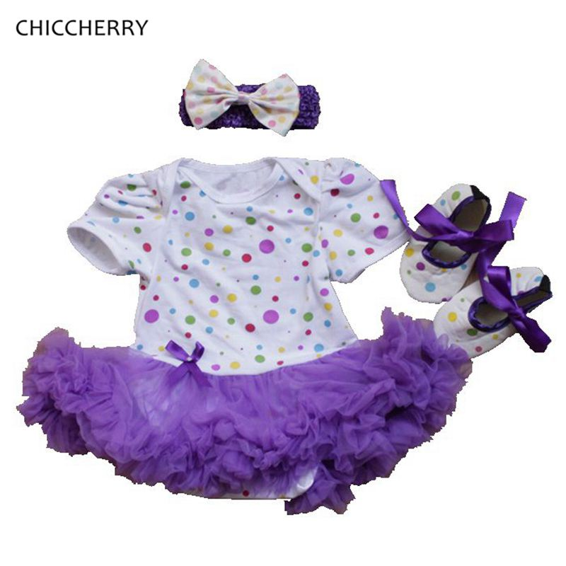 Summer Purple Lace Romper Cotton Polka Dots Baby Girl Dress Infant Tutu Bow Headband Set Vestido De Casamento Toddler Outfits<br><br>Aliexpress