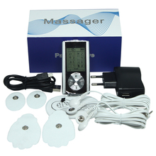 latest DUAL TENS MACHINE DIGITAL MASSAGE+Digital Pulse Therapy Muscle Full Body LED BACKLIGHT 4 PADS(China)